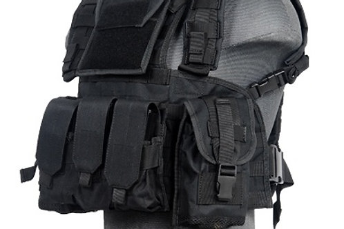 Lancer Tactical Modular Chest Rig with Pouches, Black