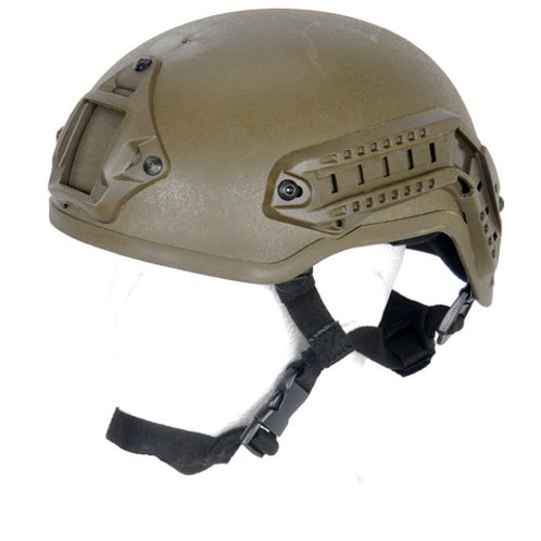 Lancer Tactical MICH 2001 NVG Helmet w/ Rails, OD Green