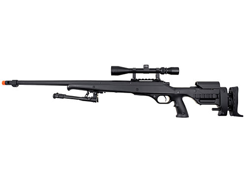 Well MB12 Heavy Weight Bolt Action Airsoft Sniper Rifle w/ Scope & Bipod, Black