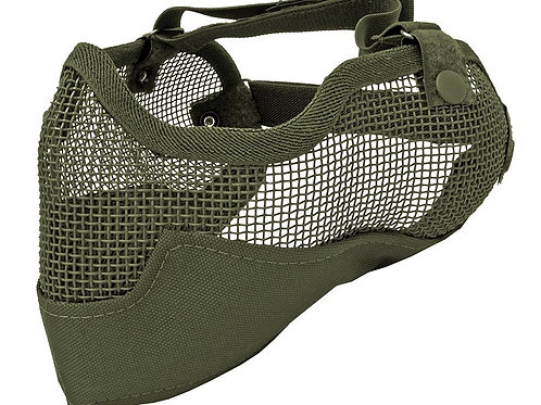 3G Steel Mesh Half Face Mask, Deluxe Version w/ Ear Protection, OD Green