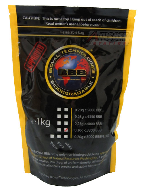 Bioval 0.30g Biodegradable Airsoft BBs, 3300 Ct