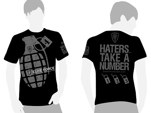 Elite Force Haters Take a Number T-Shirt, Black/Grey