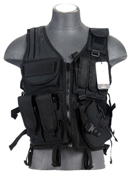 Lancer Tactical Cross Draw Tactical Vest, Black