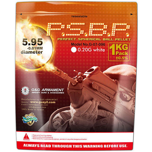 G&G Perfect Spherical BBs, 0.20g, 1KG, White, 5000 Rounds