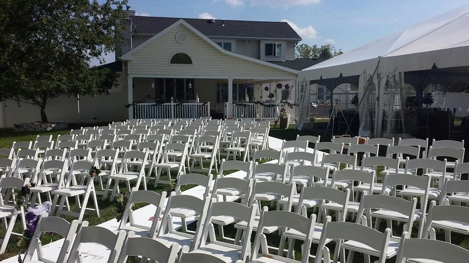 Set-up for the wedding service.