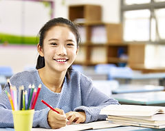 happy asian elementary school student st