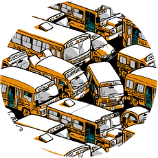 pattern buses fabric design wrapping paper