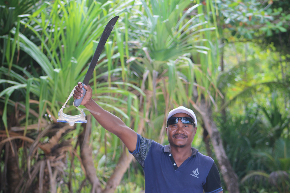 Charlie, a staff on Conflict Islands giving a machete salute