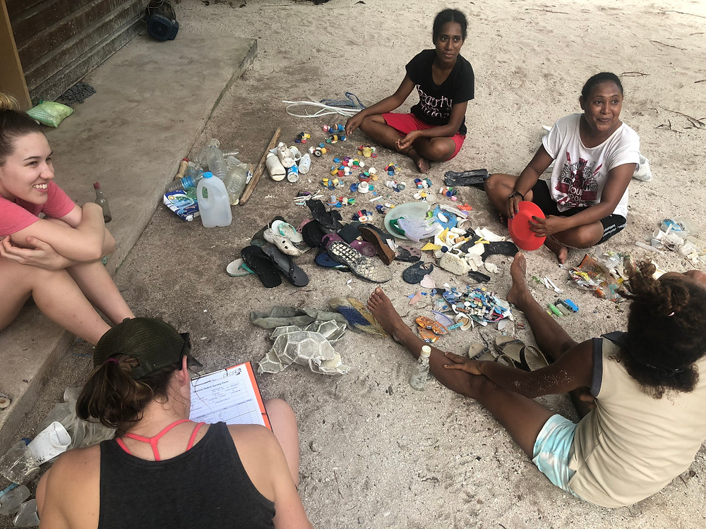 Beach clean up and sorting out plastics