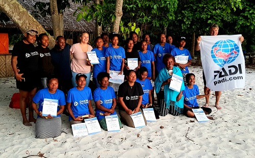 Sea Women of Melanesia after receiving their Open Water Dive Certificates.