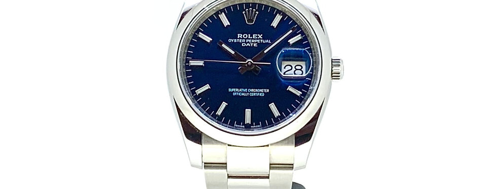 ROLEX OYSTER PERPETUAL DATE BLUE DIAL - 115200 - 6.700€