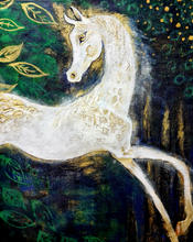 Arabian horse in a forest