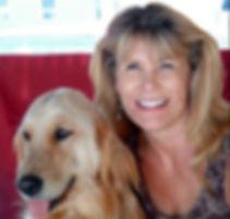 photograph of Cheryl and her guide dog, golden retriever Sammy