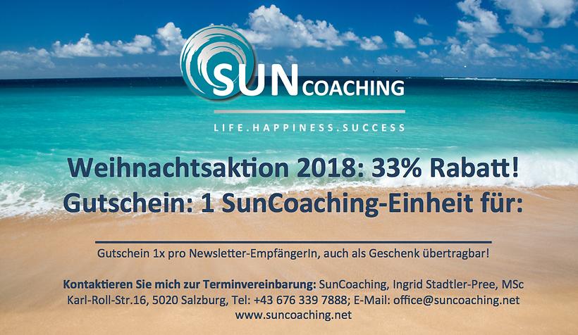 Weihnachtsaktion 2018 Gutschein Suncoach