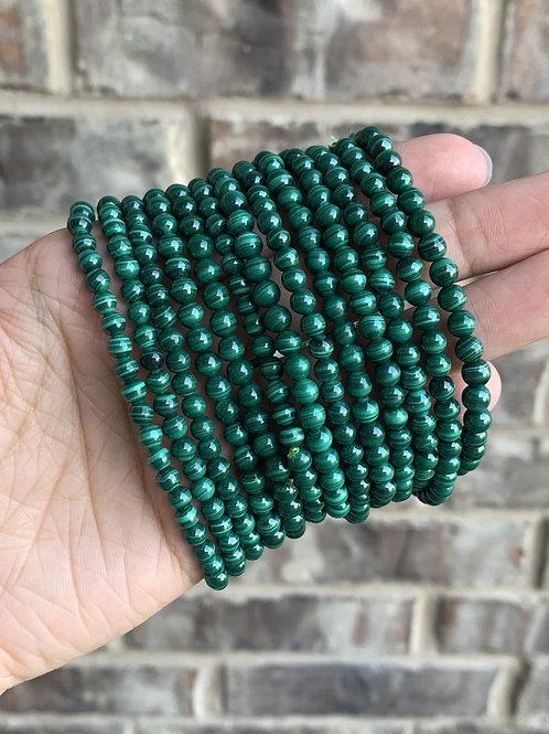 "7.5"" Genuine Malachite Stretch Bracelet 5 mm"
