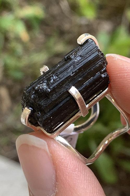 Silver Metal Black Tourmaline Adjustable Cuff Ring