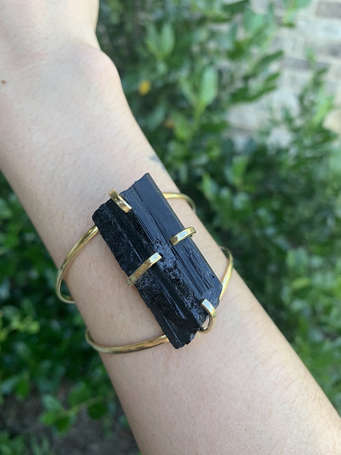 Gold Color Black Tourmaline Adjustable Cuff