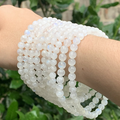"7.75"" AA Rainbow Moonstone Stretch Bracelet 5 mm"
