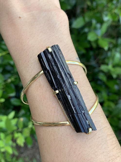 Gold Color Black Tourmaline Adjustable Cuff
