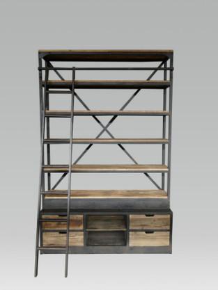 Industriële wandkast met ladder