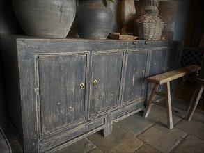 Oud Chinees dressoir zwart 5-deurs