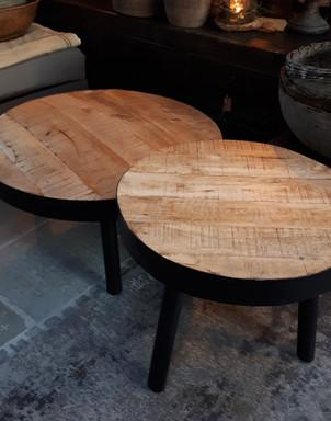 Salontafelset hout zwart metalen onderstel