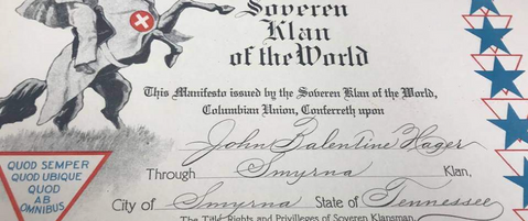 This 1919 membership certificate shows the Klan was active across Rutherford County, not just in Murfreesboro, but Smyrna as well.