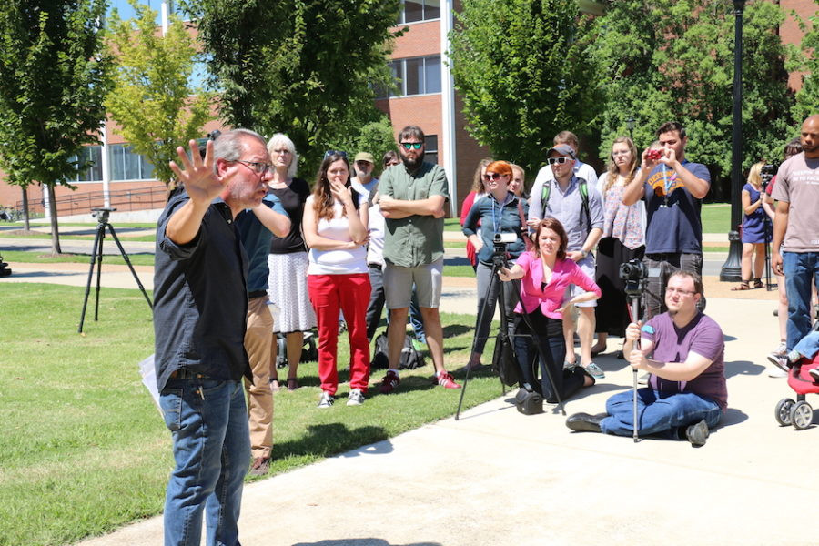 MTSU philosophy professor Michael Principe speaks out against Forrest Hall at an August protest