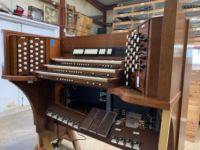 The console of a modern-day pipe organ that's in for repairs at Milnar Organ Co. in Eagleville.