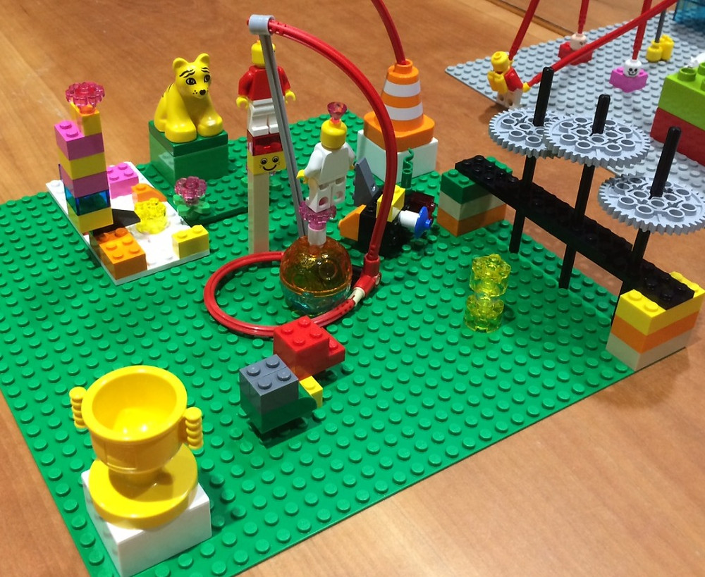 A landscape of models created on the LEGO Serious Play training. The questions was what are the benefits, and some of the models represent: unlocking potential; aligning different ways of thinking; achieving goals; an attractive learning environment; people operating on higher level; using a neurologically diverse group.