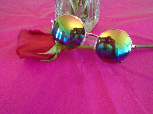 Round Squared Iridescent Sunglasses