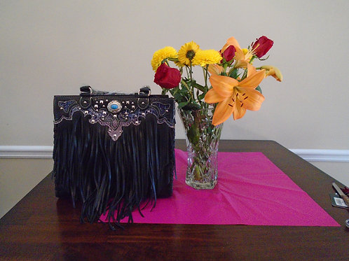 Diva Fringed Handbag With Turquoise Beads/Black