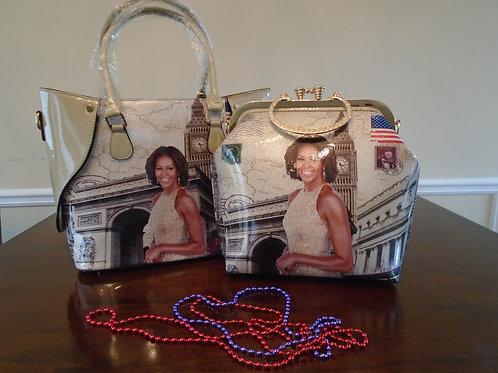 Michelle Obama Tote Bag/Matching Evening Bag/Beige