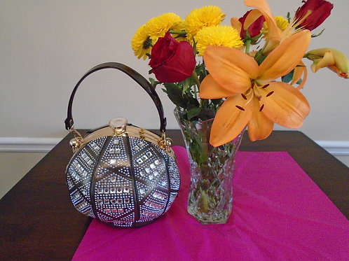Diva Black And Silver Evening Bag/With Silver Beading