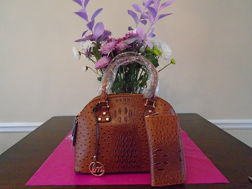 Diva Animal Print Everyday Handbag With Wallet/Cognac