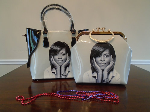 Michelle Obama Tote Bag With Matching Evening Bag/Grey And Black