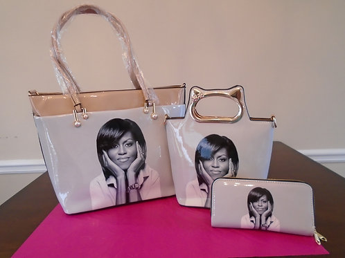 Michelle Obama Tote Bag 2 In1/Begie And White