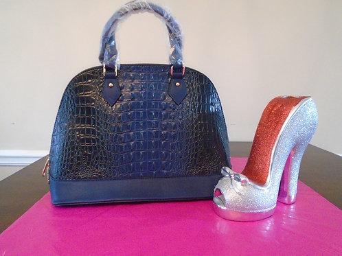Everyday Navy Blue Leopard Print Handbag