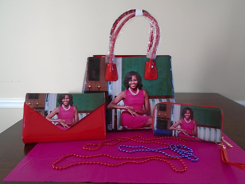 Michelle Obama Handbag With Clutch And Wallet/Multi/Red