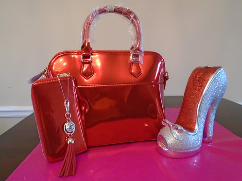 Diva Everyday Red Hot Handbag With Matching Wallet/Red/Metallic