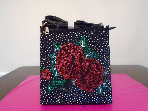 Diva Bling Roses Slingback Purse/Black