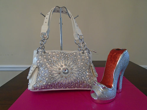 Diva Bling Bling Handbag/White
