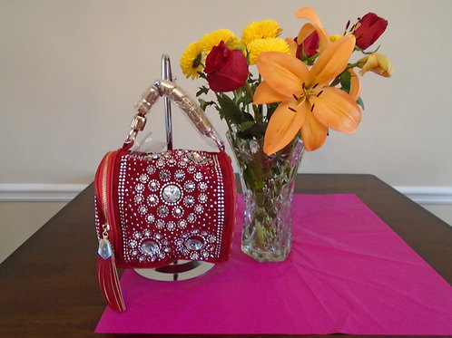 Beautiful Round Beaded Handbag/Red