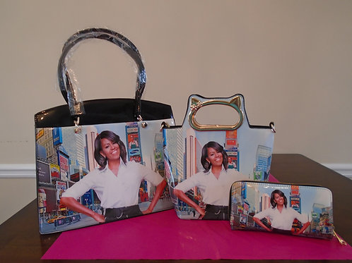 Michelle Obama Magazine Tote Bag/Black