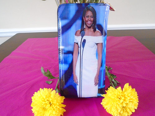 Michelle Obama Wallet/White And Blue
