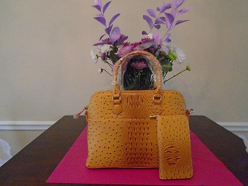 Mustard Everyday Handbag With Leopard Print/Wallet