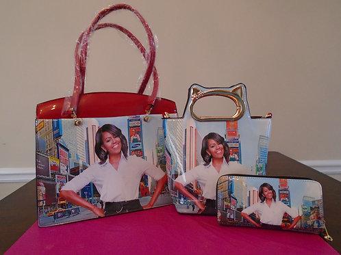 Michelle Obama Magazine Tote Bag/Red
