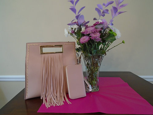Diva Fringed Squared Handbag With Matching Wallet Blush Pink