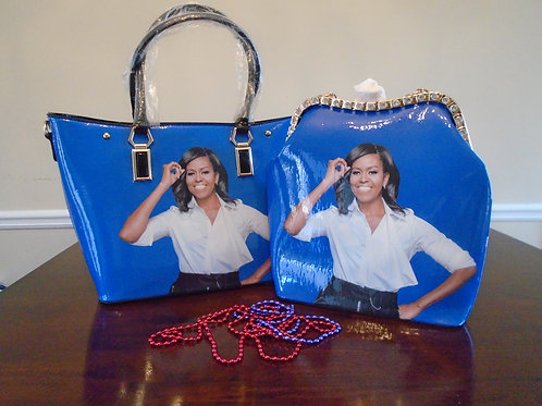 Michelle Obama Tote Bag With Evening Bag/Blue