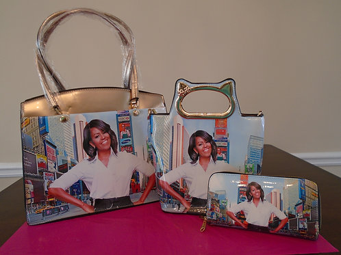 Michelle Obama Magazine Tote Bag/Gold
